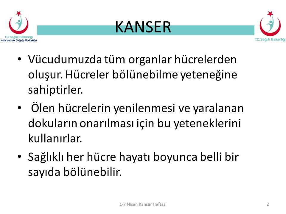KANSER Vücudumuzda tüm organlar hücrelerden oluşur. Hücreler bölünebilme yeteneğine sahiptirler.