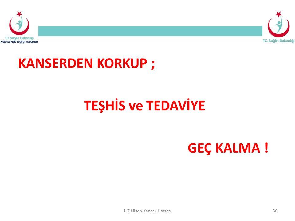 KANSERDEN KORKUP ; TEŞHİS ve TEDAVİYE GEÇ KALMA !