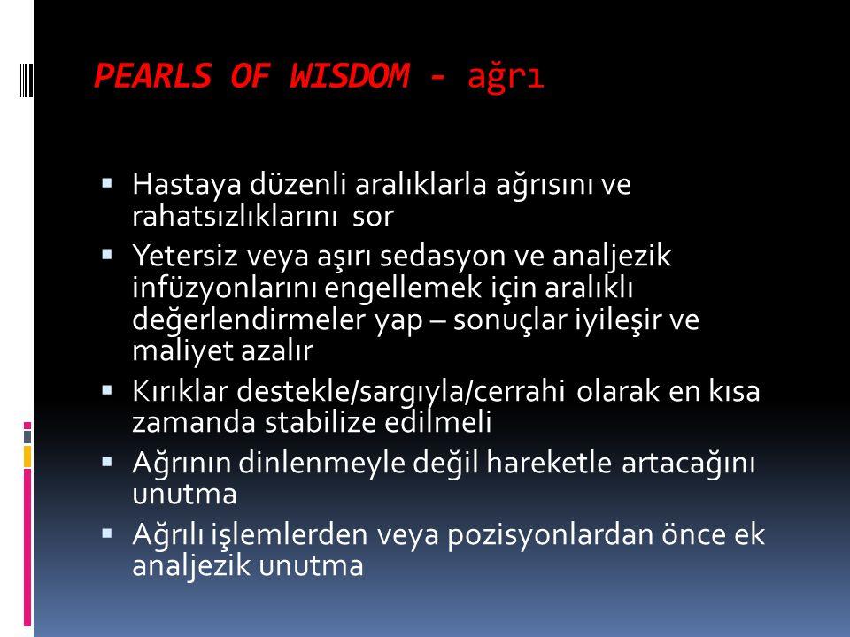 PEARLS OF WISDOM - ağrı Hastaya düzenli aralıklarla ağrısını ve rahatsızlıklarını sor.