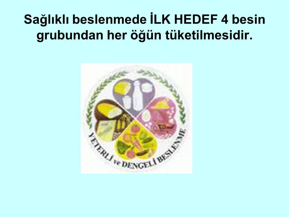 Sağlıklı beslenmede İLK HEDEF 4 besin grubundan her öğün tüketilmesidir.