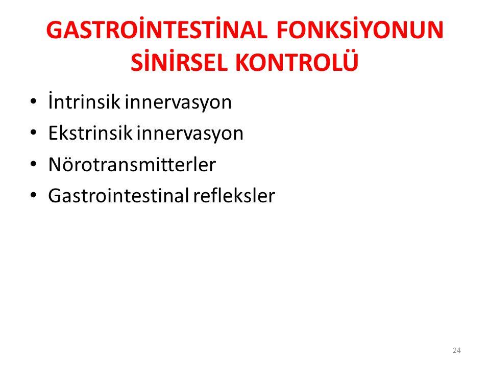 GASTROİNTESTİNAL FONKSİYONUN SİNİRSEL KONTROLÜ
