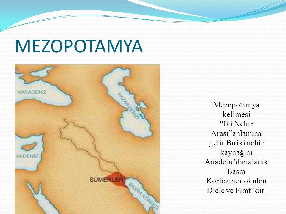 MEZOPOTAMYA Mezopotamya kelimesi İki Nehir Arası anlamına