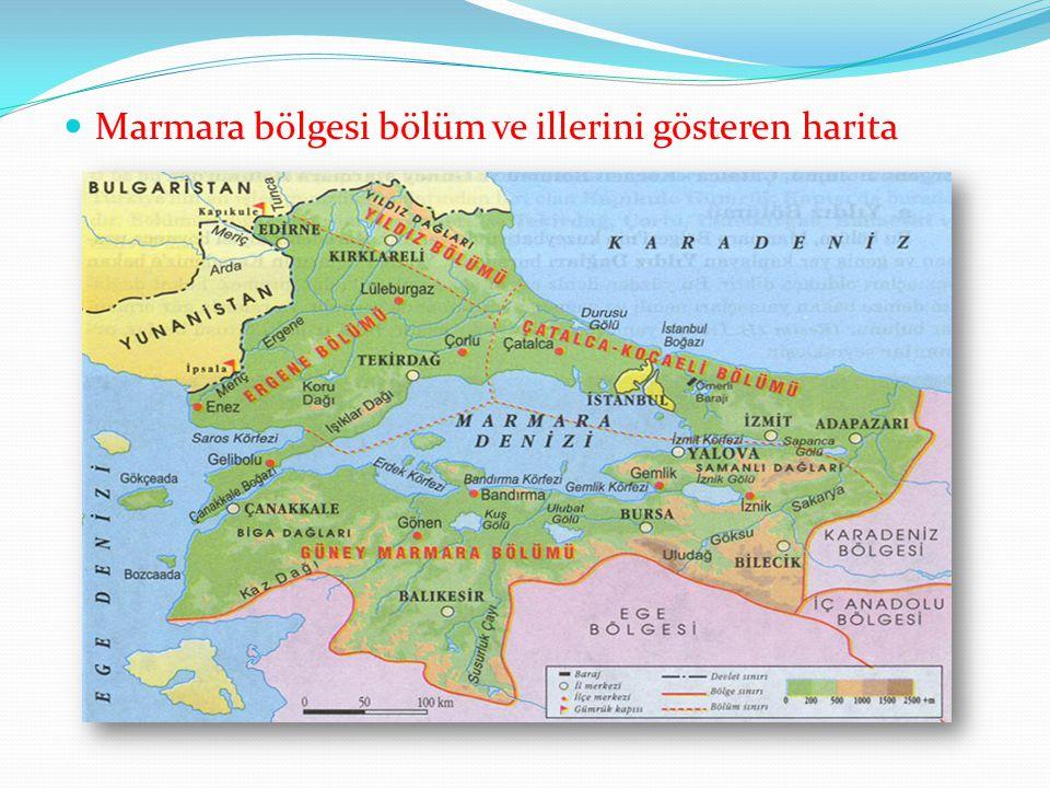 Marmara bölgesi bölüm ve illerini gösteren harita