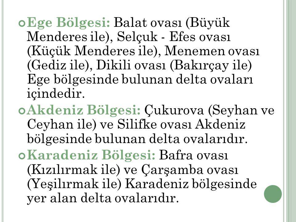 Ege Bölgesi: Balat ovası (Büyük Menderes ile), Selçuk - Efes ovası (Küçük Menderes ile), Menemen ovası (Gediz ile), Dikili ovası (Bakırçay ile) Ege bölgesinde bulunan delta ovaları içindedir.