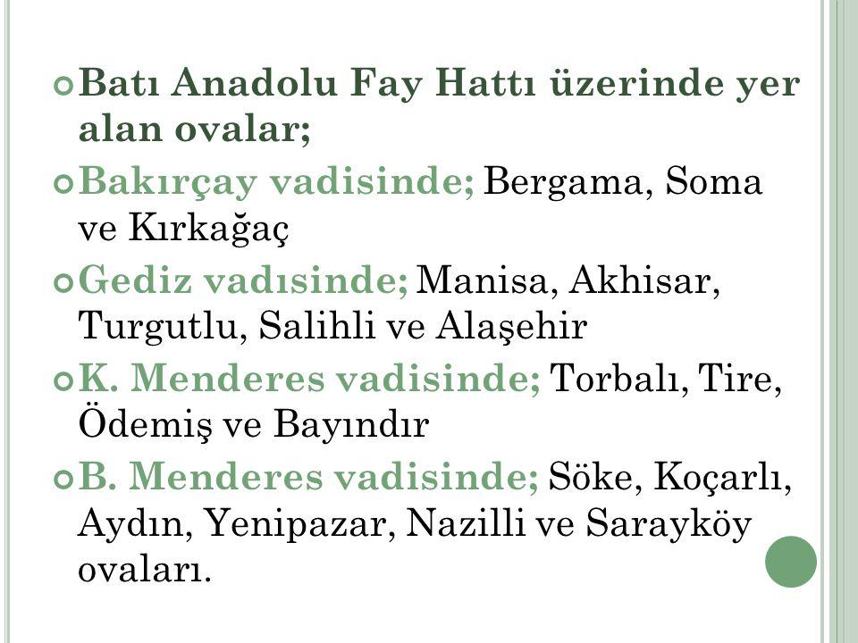 Batı Anadolu Fay Hattı üzerinde yer alan ovalar;