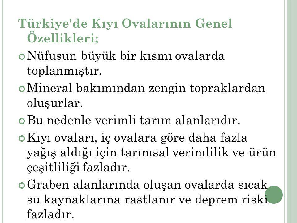 Türkiye de Kıyı Ovalarının Genel Özellikleri;