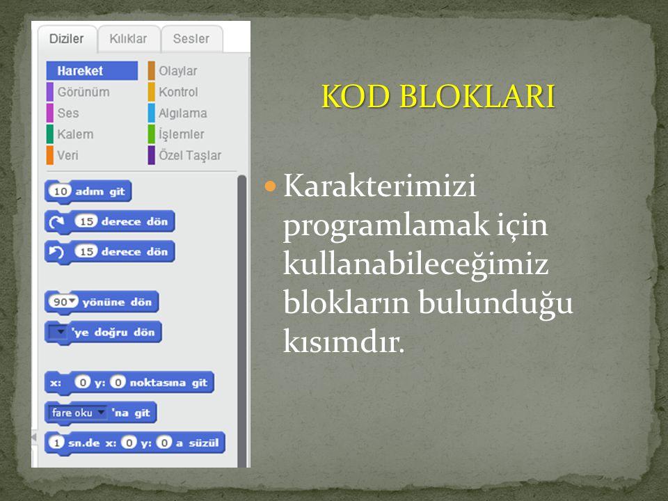 KOD BLOKLARI Karakterimizi programlamak için kullanabileceğimiz blokların bulunduğu kısımdır.