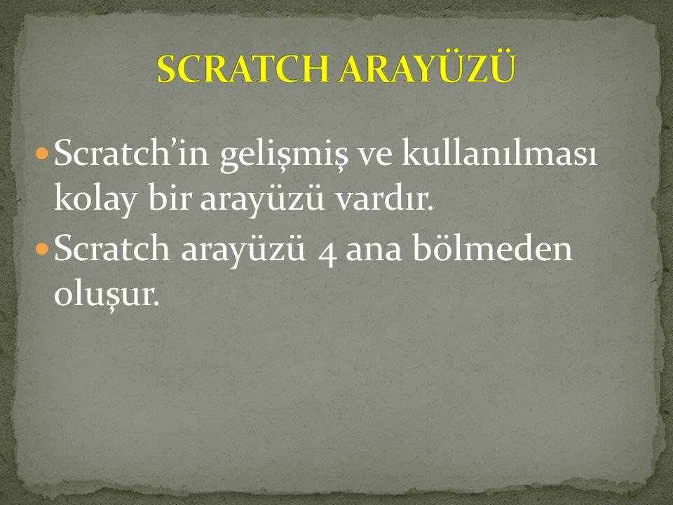 SCRATCH ARAYÜZÜ Scratch'in gelişmiş ve kullanılması kolay bir arayüzü vardır.