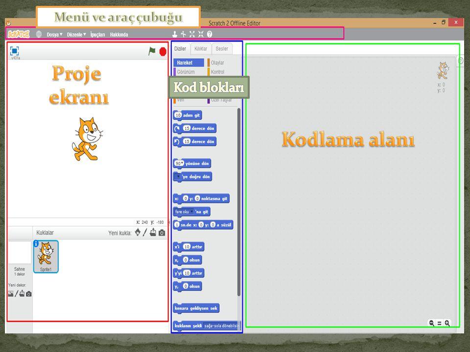 Proje ekranı Kodlama alanı