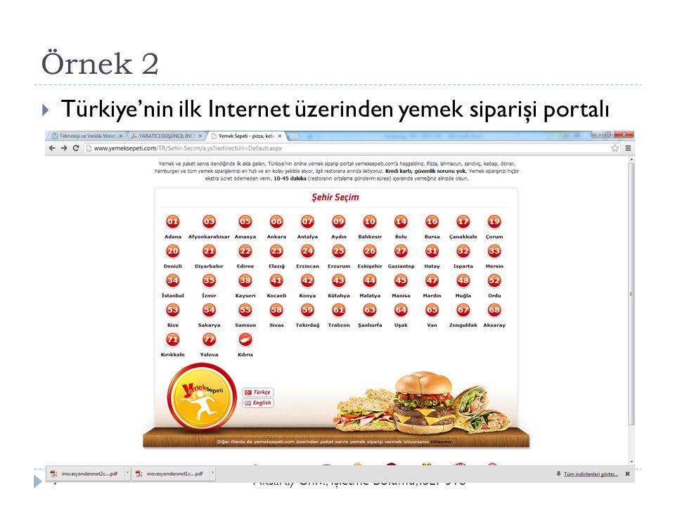 Örnek 2 Türkiye'nin ilk Internet üzerinden yemek siparişi portalı