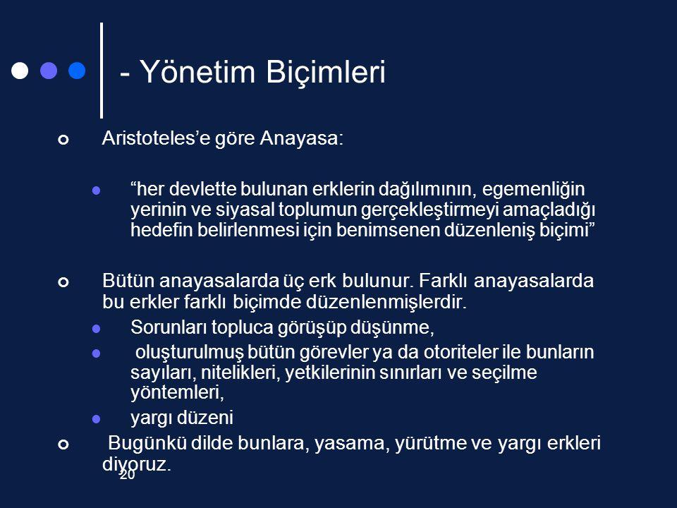 - Yönetim Biçimleri Aristoteles'e göre Anayasa: