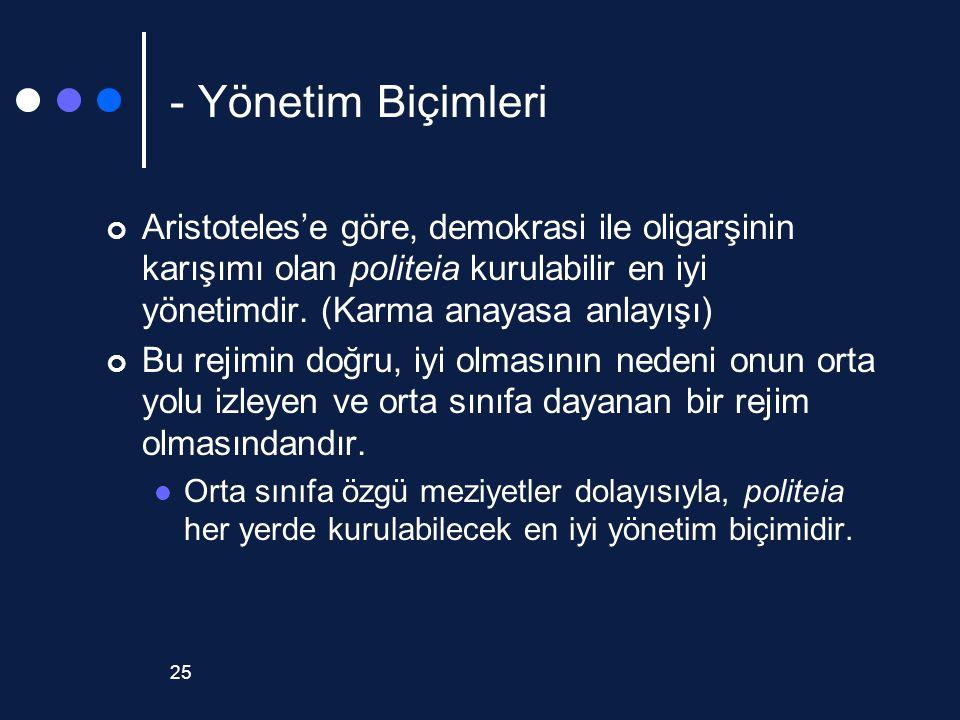 - Yönetim Biçimleri Aristoteles'e göre, demokrasi ile oligarşinin karışımı olan politeia kurulabilir en iyi yönetimdir. (Karma anayasa anlayışı)