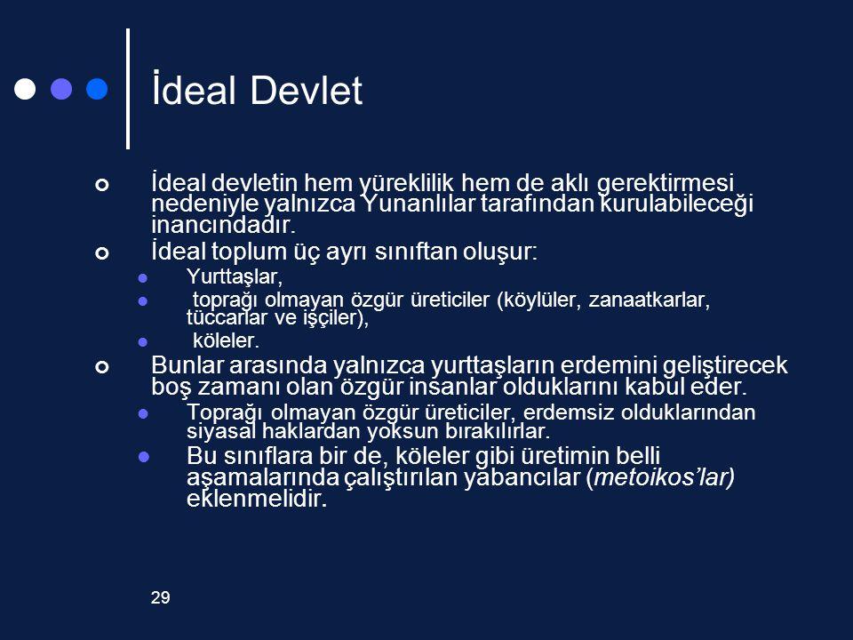 İdeal Devlet İdeal devletin hem yüreklilik hem de aklı gerektirmesi nedeniyle yalnızca Yunanlılar tarafından kurulabileceği inancındadır.