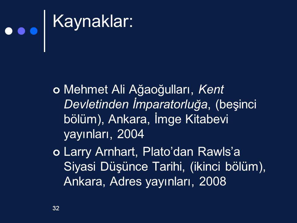 Kaynaklar: Mehmet Ali Ağaoğulları, Kent Devletinden İmparatorluğa, (beşinci bölüm), Ankara, İmge Kitabevi yayınları, 2004.