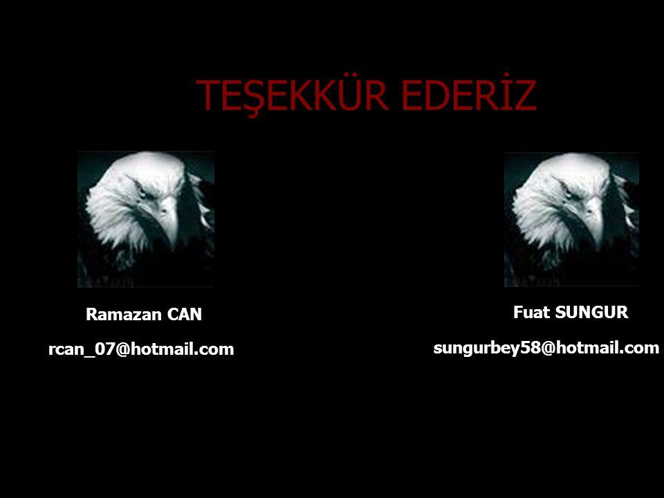 TEŞEKKÜR EDERİZ Ramazan CAN Fuat SUNGUR rcan_07@hotmail.com