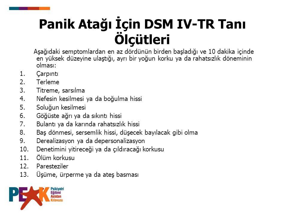 Panik Atağı İçin DSM IV-TR Tanı Ölçütleri