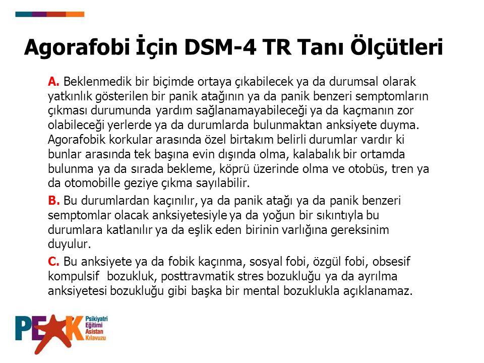 Agorafobi İçin DSM-4 TR Tanı Ölçütleri