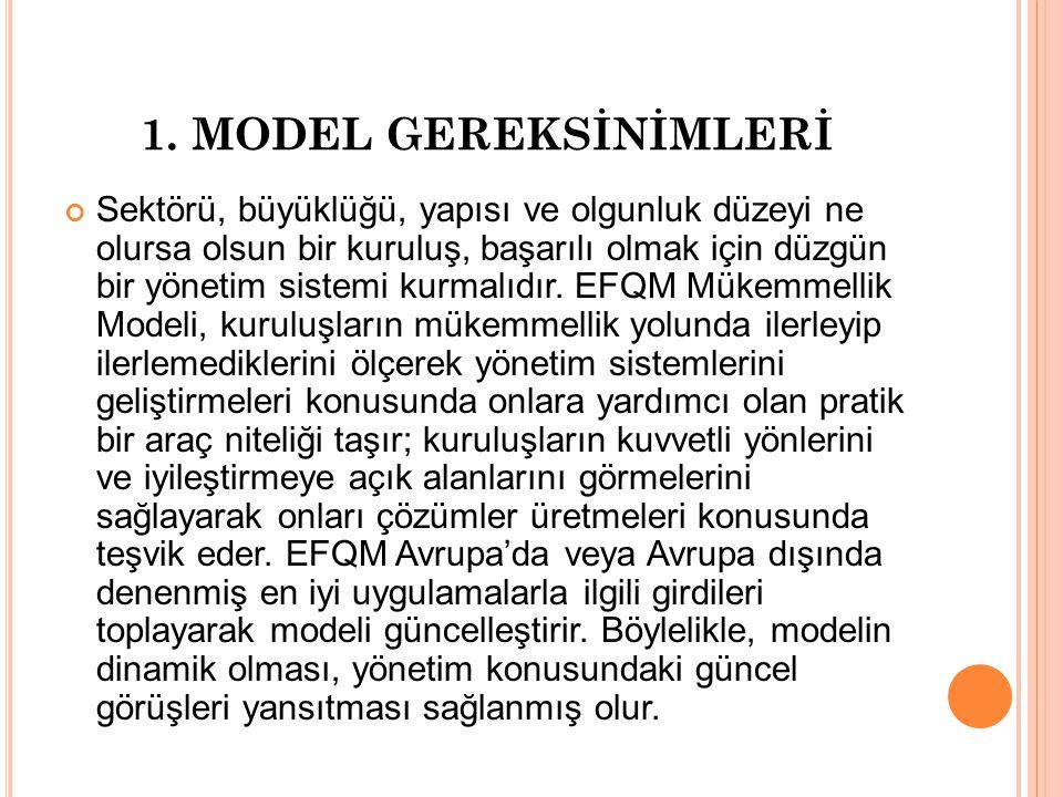 1. MODEL GEREKSİNİMLERİ