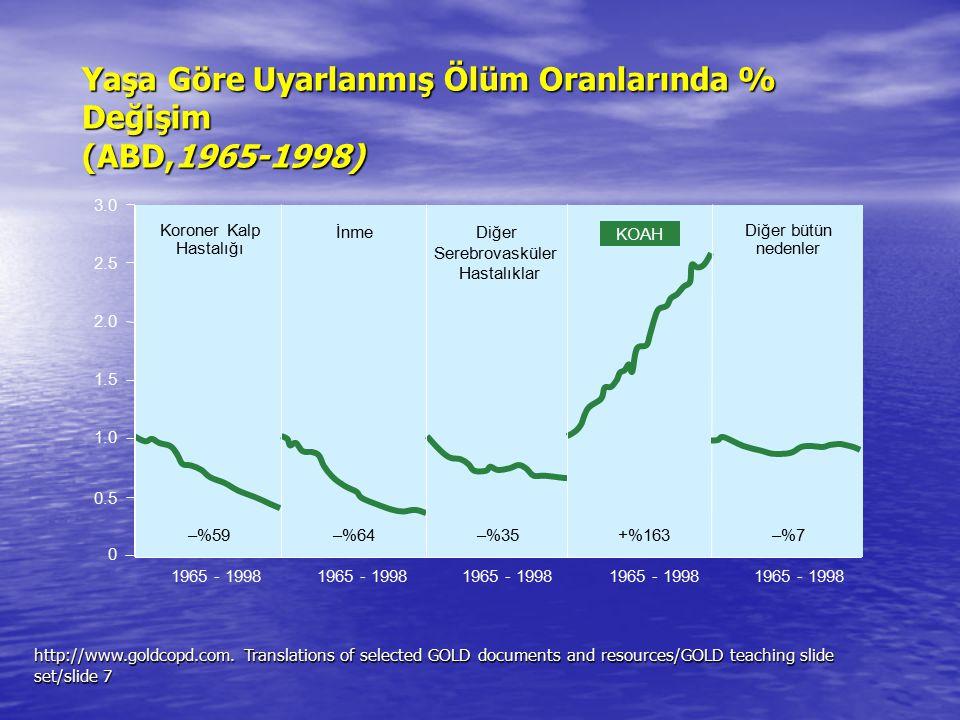 Yaşa Göre Uyarlanmış Ölüm Oranlarında % Değişim (ABD,1965-1998)