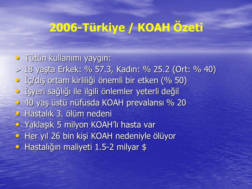 2006-Türkiye / KOAH Özeti Tütün kullanımı yaygın: