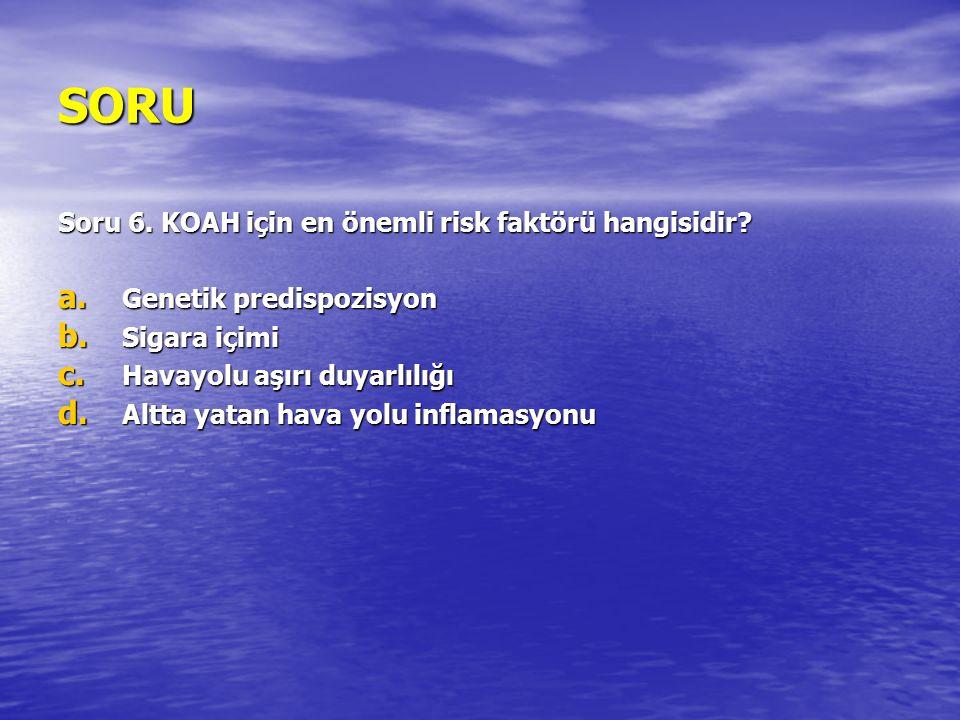 SORU Soru 6. KOAH için en önemli risk faktörü hangisidir