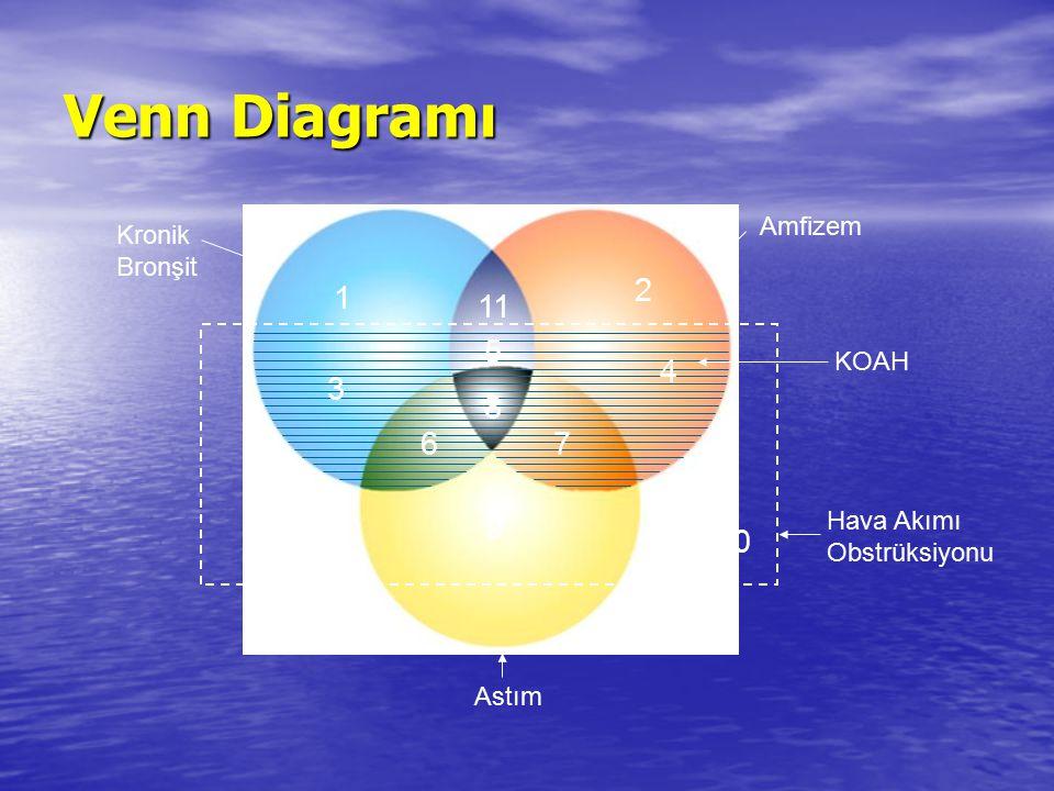Venn Diagramı 2 1 11 5 4 3 8 6 7 9 10 Amfizem Kronik Bronşit KOAH