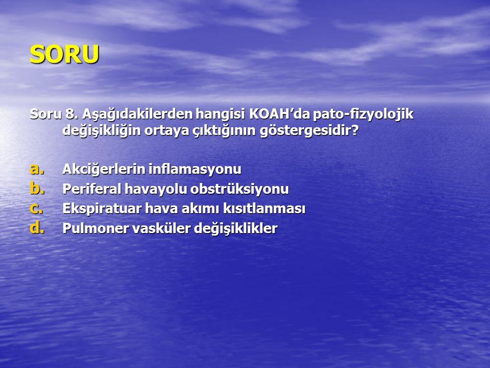 SORU Soru 8. Aşağıdakilerden hangisi KOAH'da pato-fizyolojik değişikliğin ortaya çıktığının göstergesidir