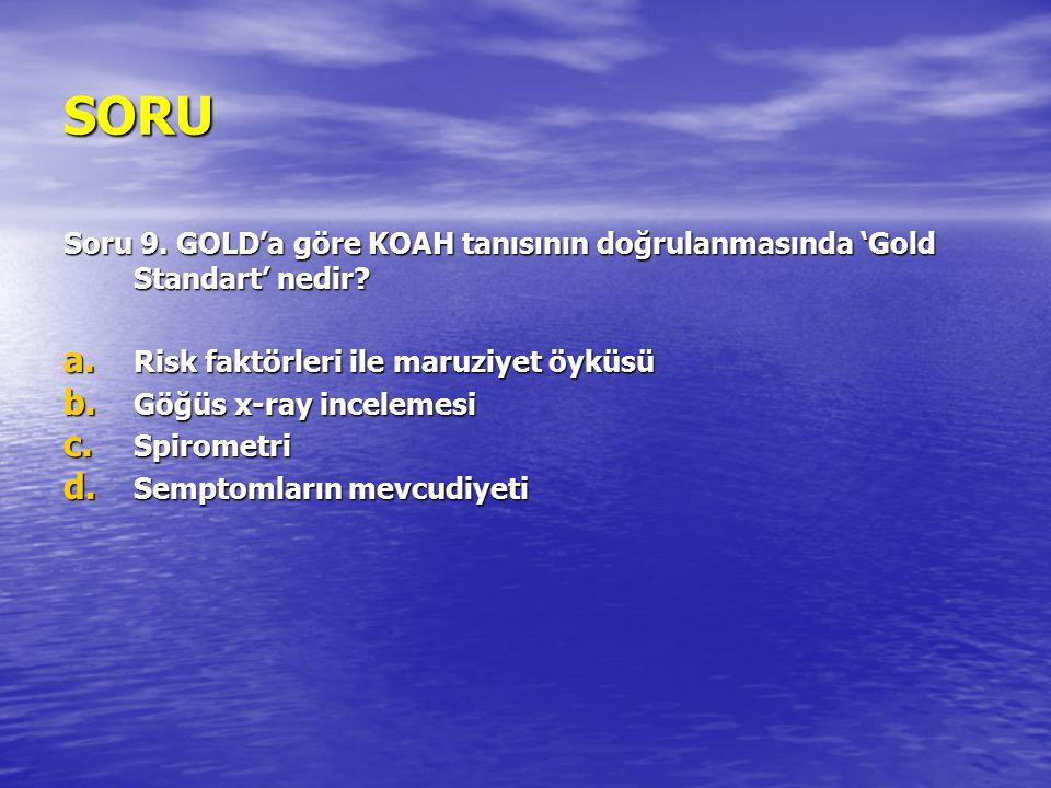 SORU Soru 9. GOLD'a göre KOAH tanısının doğrulanmasında 'Gold Standart' nedir Risk faktörleri ile maruziyet öyküsü.