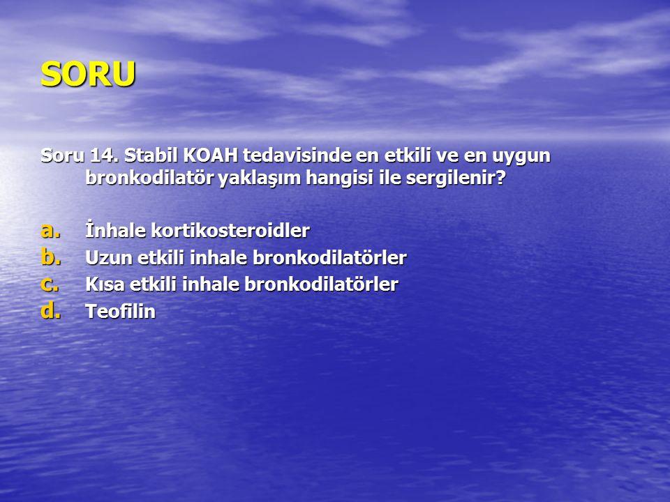 SORU Soru 14. Stabil KOAH tedavisinde en etkili ve en uygun bronkodilatör yaklaşım hangisi ile sergilenir
