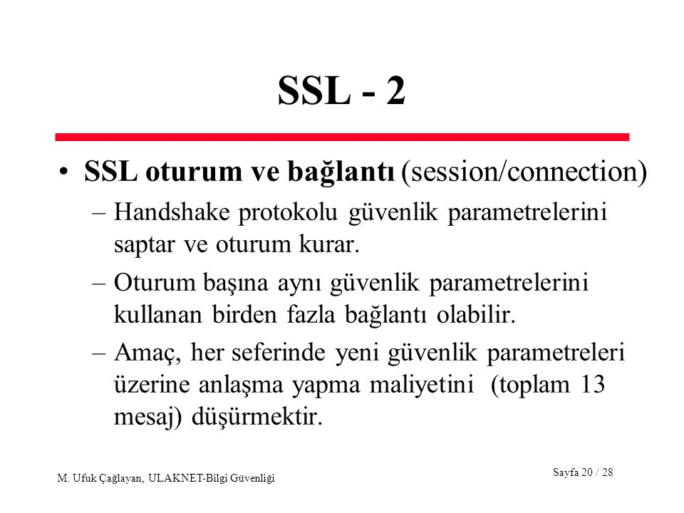 SSL - 2 SSL oturum ve bağlantı (session/connection)
