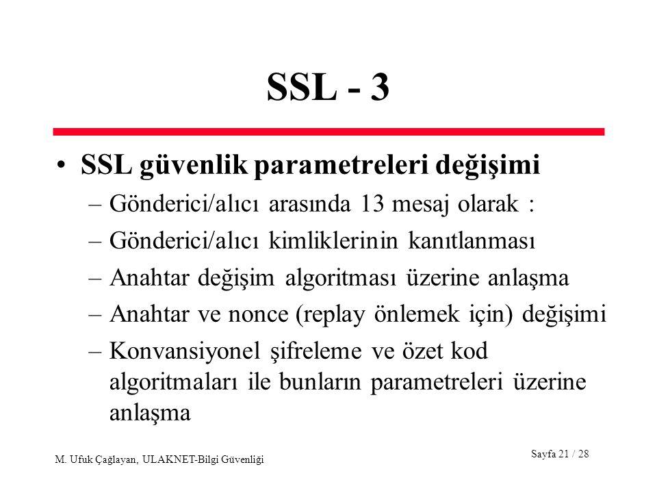 SSL - 3 SSL güvenlik parametreleri değişimi