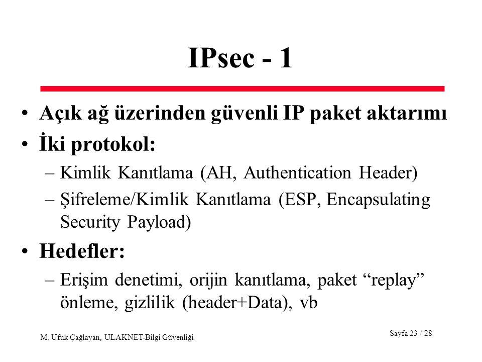 IPsec - 1 Açık ağ üzerinden güvenli IP paket aktarımı İki protokol: