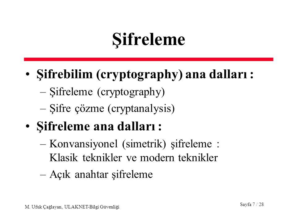 Şifreleme Şifrebilim (cryptography) ana dalları :