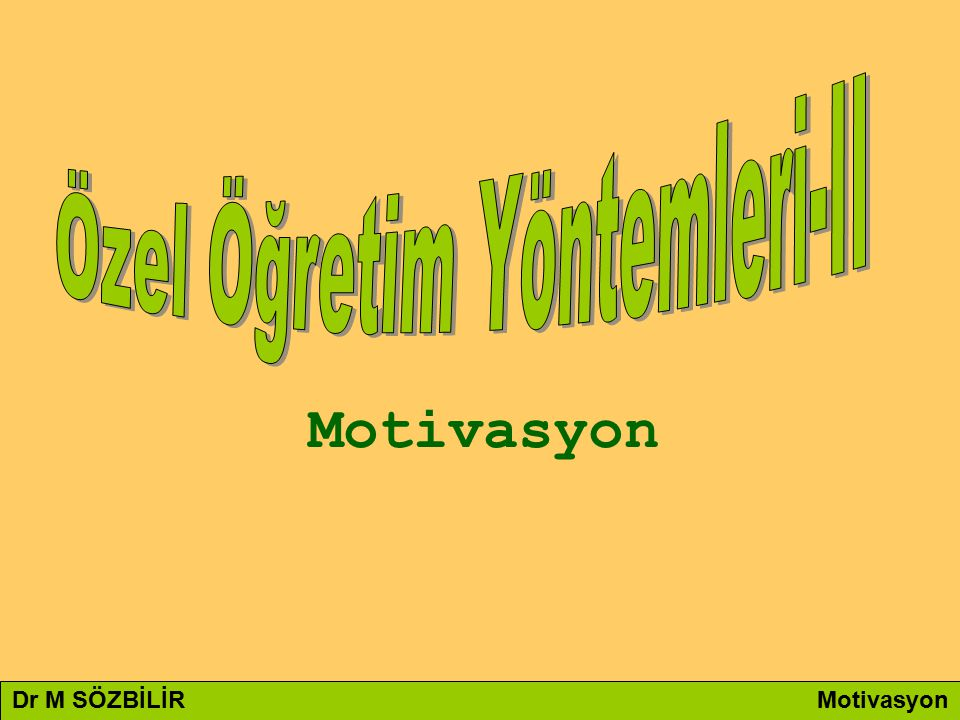Dr M SÖZBİLİR Motivasyon