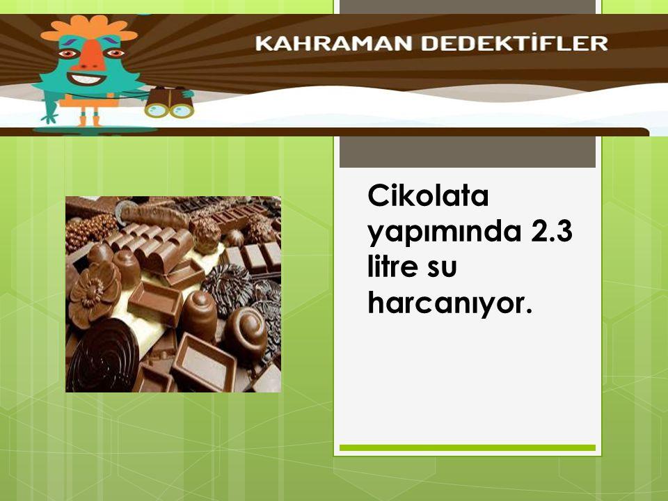 Cikolata yapımında 2.3 litre su harcanıyor.