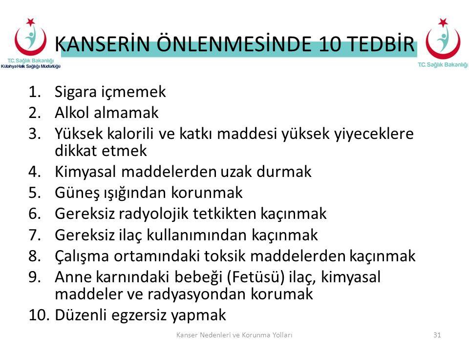 KANSERİN ÖNLENMESİNDE 10 TEDBİR