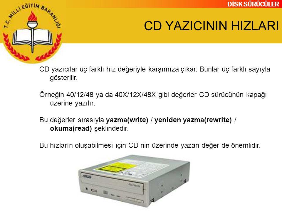 CD YAZICININ HIZLARI CD yazıcılar üç farklı hız değeriyle karşımıza çıkar. Bunlar üç farklı sayıyla gösterilir.