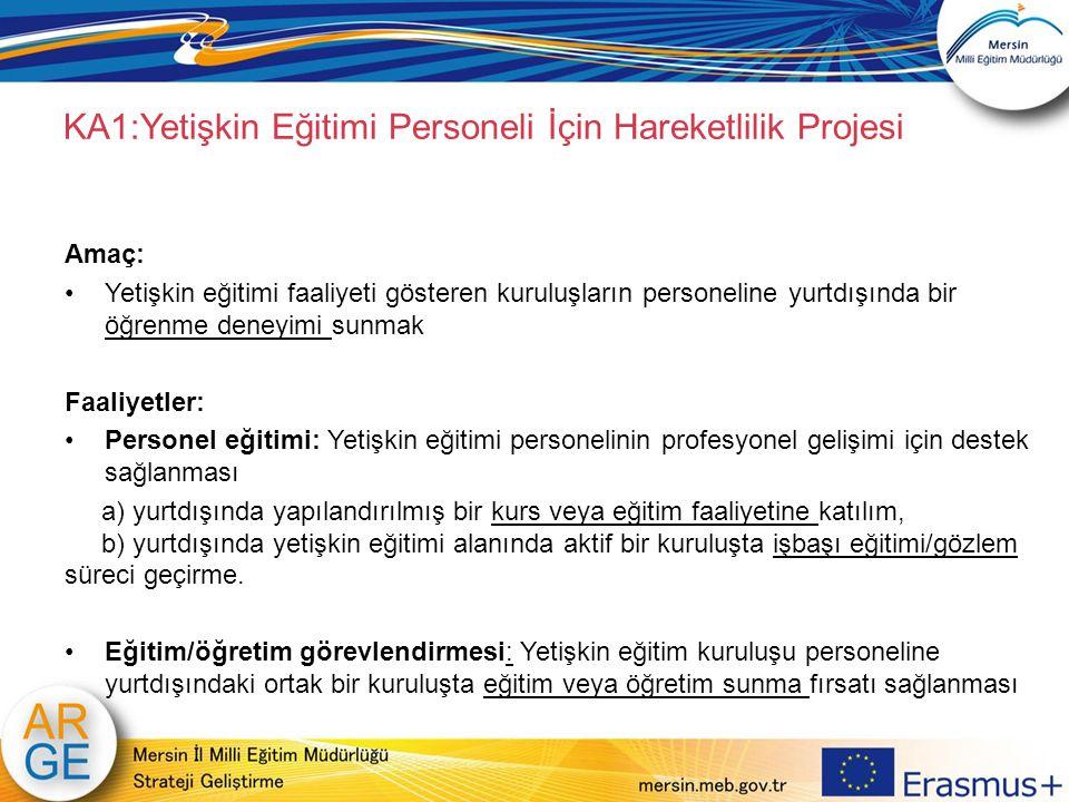 KA1:Yetişkin Eğitimi Personeli İçin Hareketlilik Projesi