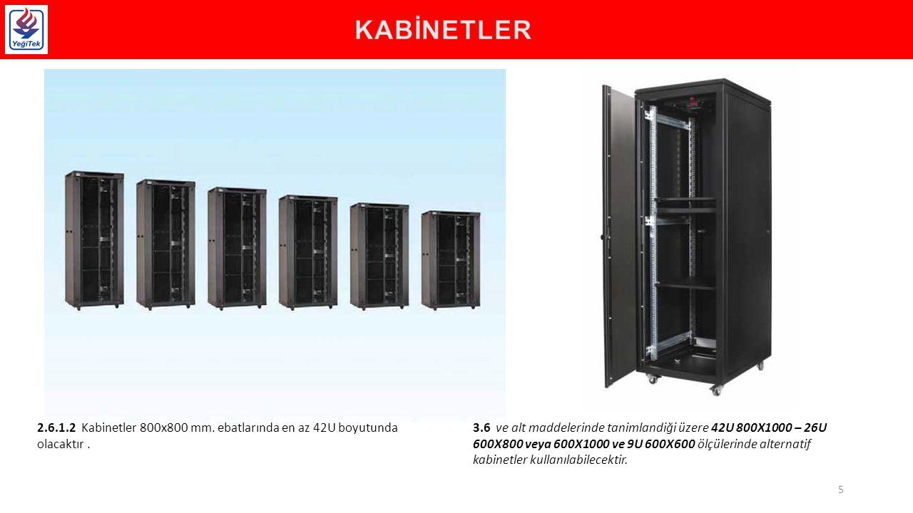 KABİNETLER 2.6.1.2 Kabinetler 800x800 mm. ebatlarında en az 42U boyutunda olacaktır .