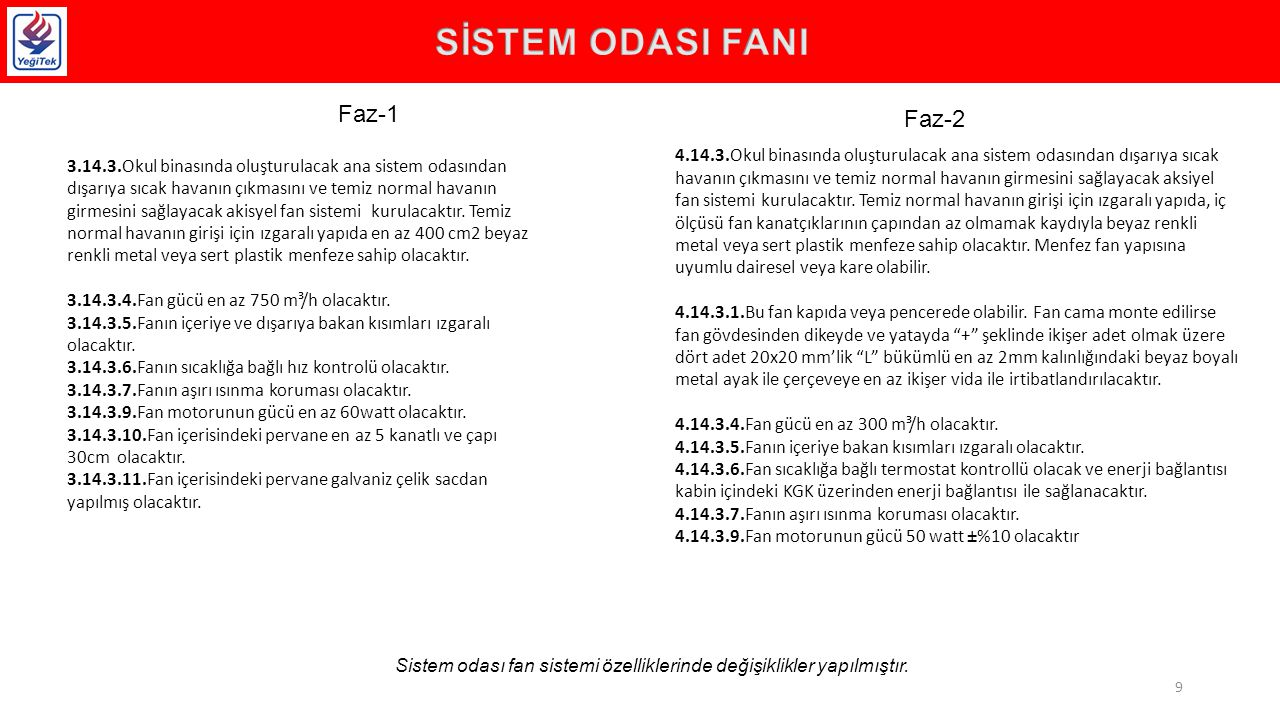 Sistem odası fan sistemi özelliklerinde değişiklikler yapılmıştır.