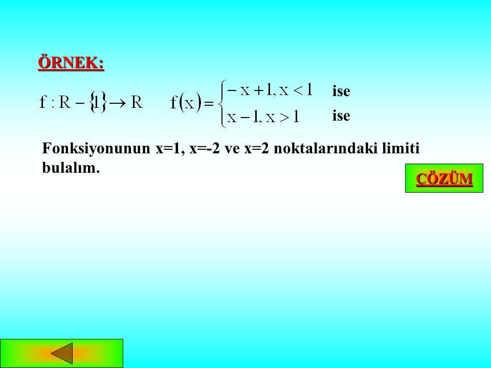 Fonksiyonunun x=1, x=-2 ve x=2 noktalarındaki limiti bulalım.