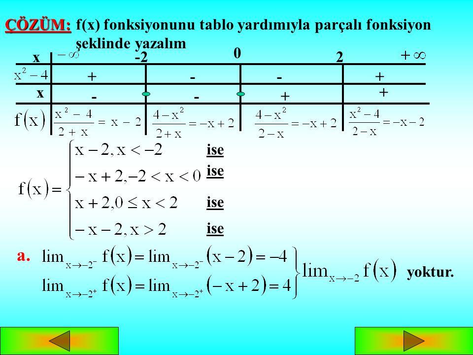f(x) fonksiyonunu tablo yardımıyla parçalı fonksiyon şeklinde yazalım
