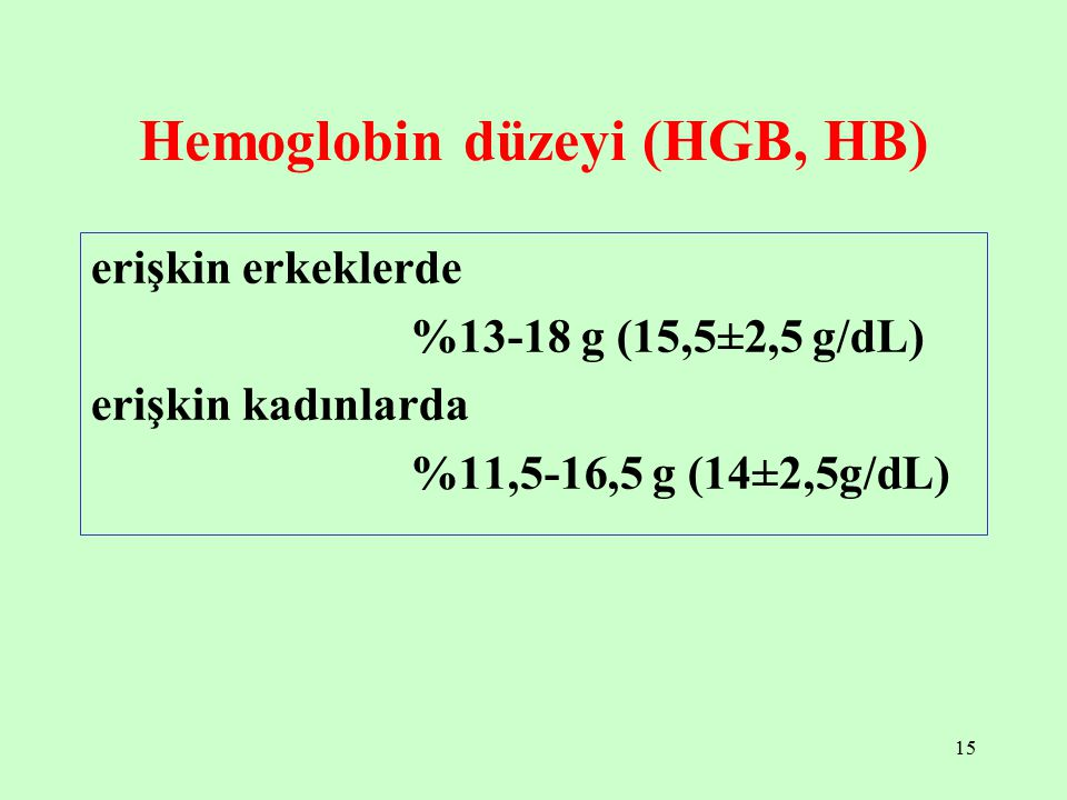 Hemoglobin düzeyi (HGB, HB)