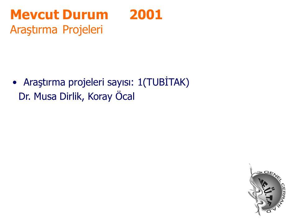 Mevcut Durum 2001 Araştırma Projeleri