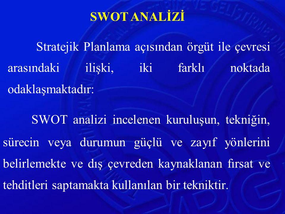 SWOT ANALİZİ Stratejik Planlama açısından örgüt ile çevresi arasındaki ilişki, iki farklı noktada odaklaşmaktadır: