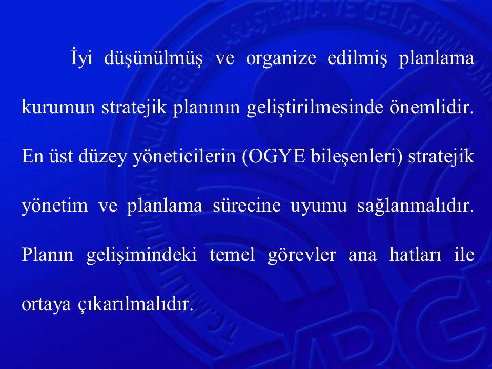 İyi düşünülmüş ve organize edilmiş planlama kurumun stratejik planının geliştirilmesinde önemlidir.