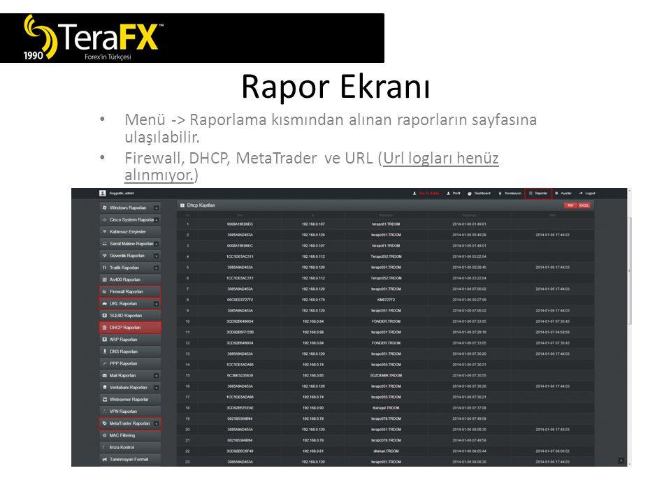 Rapor Ekranı Menü -> Raporlama kısmından alınan raporların sayfasına ulaşılabilir.