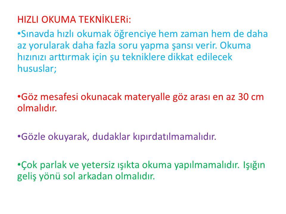 HIZLI OKUMA TEKNİKLERi:
