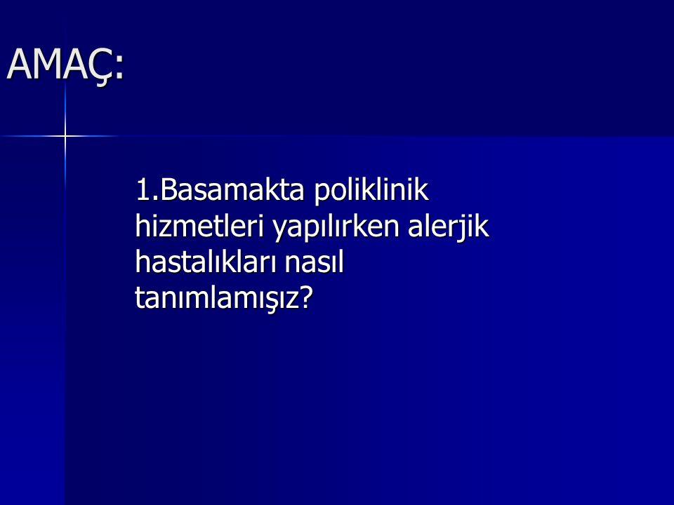 AMAÇ: 1.Basamakta poliklinik hizmetleri yapılırken alerjik hastalıkları nasıl tanımlamışız