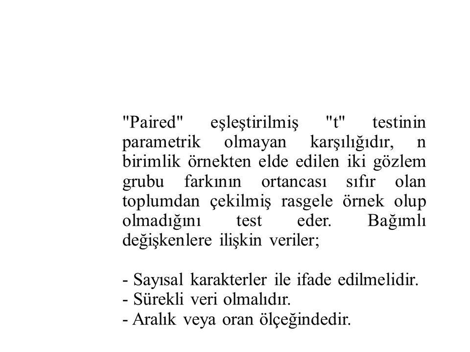 Paired eşleştirilmiş t testinin parametrik olmayan karşılığıdır, n birimlik örnekten elde edilen iki gözlem grubu farkının ortancası sıfır olan toplumdan çekilmiş rasgele örnek olup olmadığını test eder. Bağımlı değişkenlere ilişkin veriler;